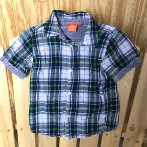 Boys short sleeve button up plaid shirt
